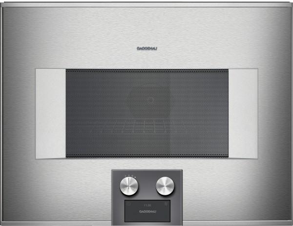 Gaggenau BM455110 Mikrowellen-Backofen Serie 400 Edelstahl-hinterlegte Vollglastür Linksanschlag